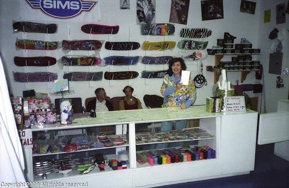 Skateboard Mania skateboard shop in Porterville, California in 1986.