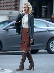 Naomi Watts on the film set of 'Gypsy' in the West Village, New York City USA.