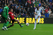 Swansea city's  Michu ® 'scores' but the goal is dissallowed for offside.  Barclays Premier league, Swansea city v Manchester Utd in Swansea, South Wales on Saturday 17th August 2013. pic by Andrew Orchard ,Andrew Orchard sports photography,