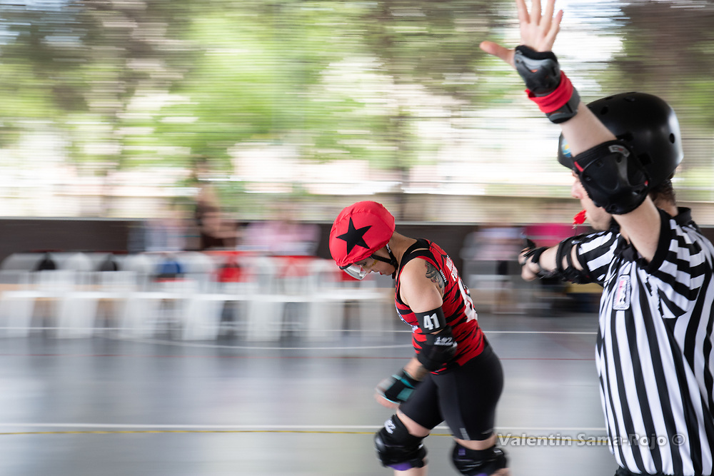 Madrid, Spain. 26th May, 2018. Jammer of Roller Derby Madrid B, #41 Malas Formas, during the game against West Team. © Valentin Sama-Rojo