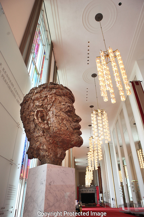 The main hall of the John F. Kennedy Center for the Performing Arts with the Kennedy bronze bust of JFK by Robert Berks. Photograph by Dennis Brack