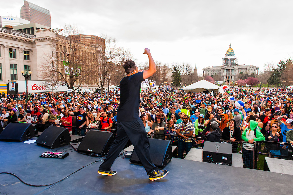 Zion I performing, 420 Cannabis Culture Music Festival, Civic Center Park, Downtown Denver, Colorado USA. This was the first 4/20 celebration since recreational pot became legal in Colorado January 1, 2014.