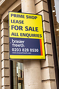 Prime shop lease for sale Brasier Freeth estate agency sign, Newbury, Berkshire, England, UK