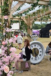 Latitude Festival 2017, Henham Park, Suffolk, UK. Pimms bar & croquet lawn