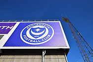 Fratton park portsmouth logo badge during the EFL Sky Bet League 1 match between Portsmouth and Peterborough United at Fratton Park, Portsmouth, England on 30 April 2019.