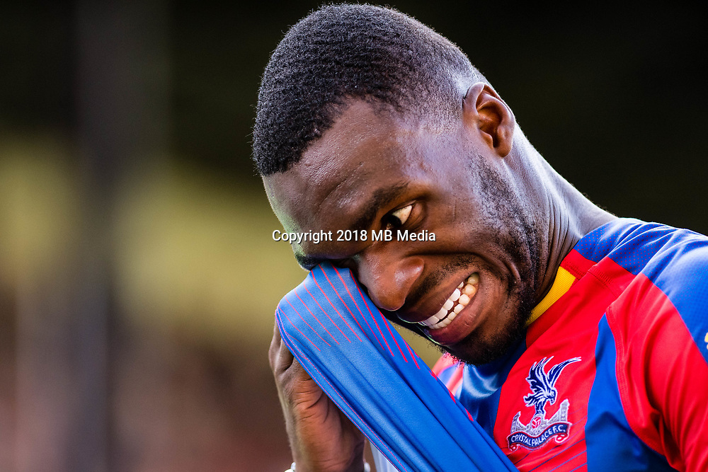 LONDON, ENGLAND - SEPTEMBER 01:   Christian Benteke of Crystal Palace during the Premier League match between Crystal Palace and Southampton FC at Selhurst Park on September 1, 2018 in London, United Kingdom. (Photo by  Sebastian Frej/MB Media/Getty Images)