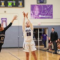 Miyamura's Noelle Charleston (20) shoots a 3-pointer Friday night against Kirtland Central at Miyamura High School.