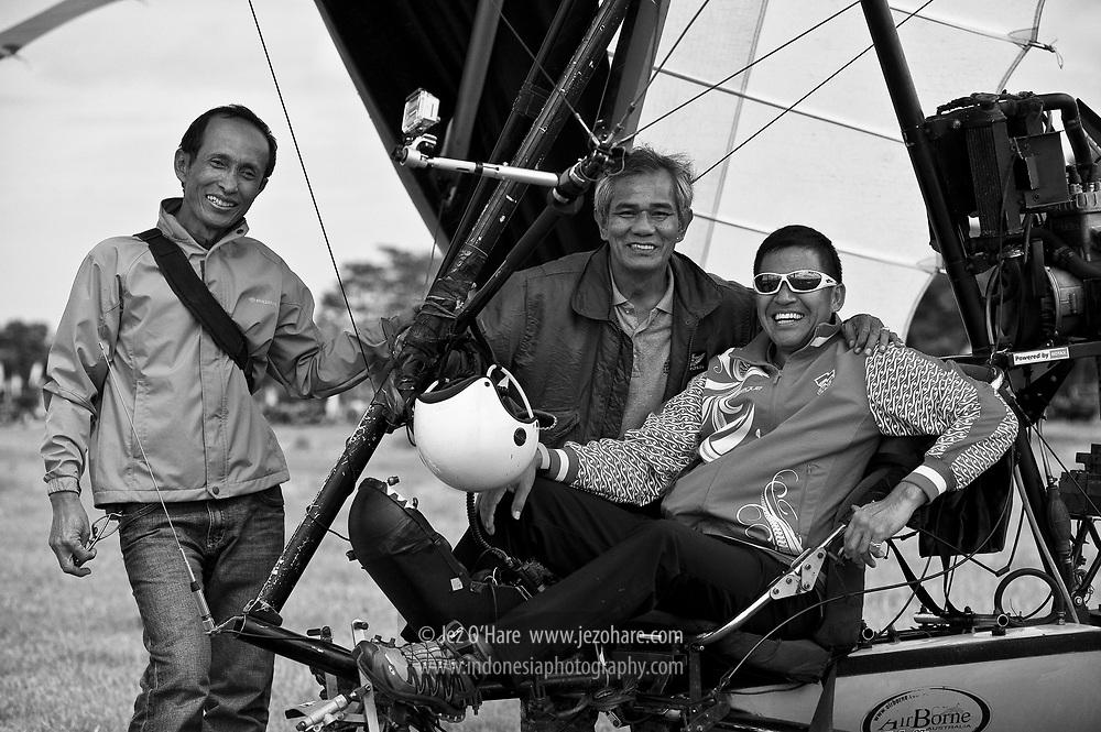 L-R Rosyid, Gerhard and Dr. Elisa at Lanud Sulaiman, Bandung, Indonesia.