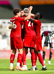 LIVERPOOL, ENGLAND - Sunday, July 26, 2020: Divock Origi (C) celebrates scoring the second goal with team-mates during the final match of the FA Premier League season between Newcastle United FC and Liverpool FC at St. James' Park. The game was played behind closed doors due to the UK government's social distancing laws during the Coronavirus COVID-19 Pandemic. Liverpool won 3-1 and finished the season as Champions on 99 points. (Pic by Propaganda)