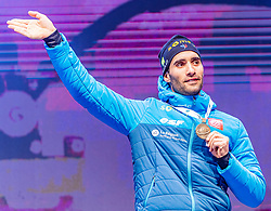 15.02.2020, Suedtirol Arena, Antholz, ITA, IBU Weltmeisterschaften Biathlon, Herren, 10 km Sprint, Siegerehrung, im Bild Bronzemedaillengewinner Martin Fourcade (FRA) // Bronze medalist Martin Fourcade of France during the winner ceremony for the men's 10 km Sprint of IBU Biathlon World Championships 2020 at the Suedtirol Arena in Antholz, Italy on 2020/02/15. EXPA Pictures © 2020, PhotoCredit: EXPA/ Stefan Adelsberger