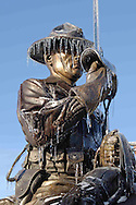 Department of Defense -- First World War statue after a ice storm at Fort Riley, Kansas.