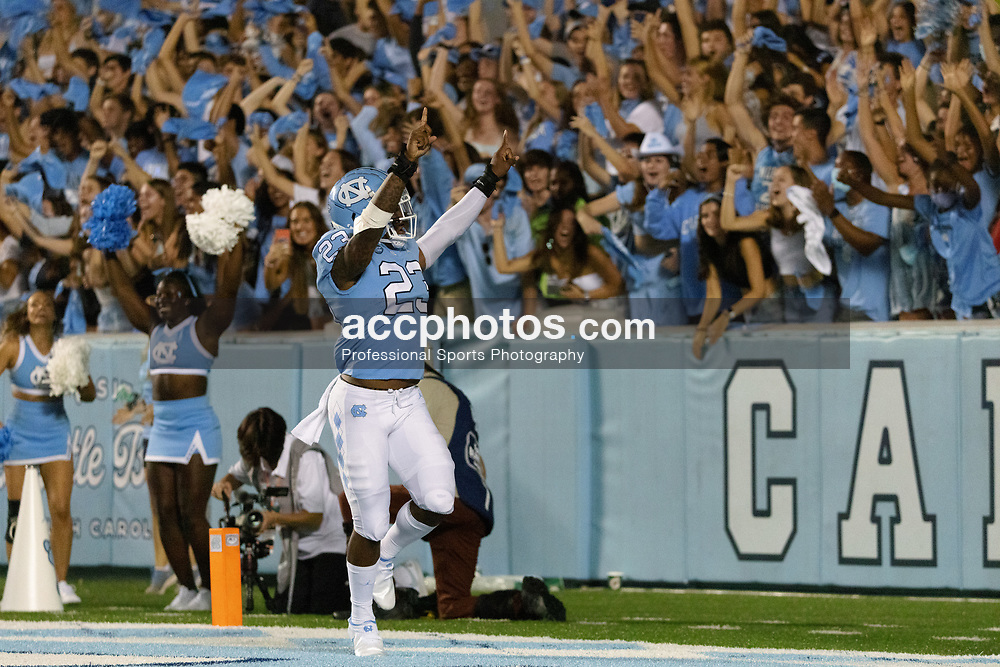 CHAPEL HILL, NC - SEPTEMBER 11: Josh Henderson #23 of the North Carolina Tar Heels plays during a game against the Georgia State Panthers on September 11, 2021 at Kenan Stadium in Chapel Hill, North Carolina. North Carolina won 59-17. (Photo by Peyton Williams/Getty Images) *** Local Caption *** Josh Henderson