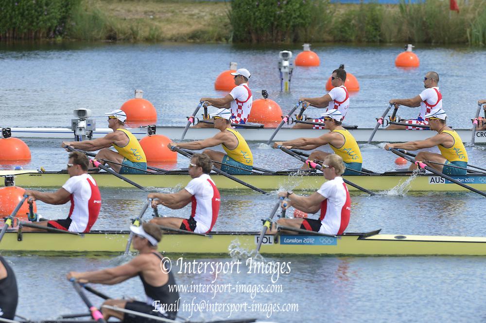 Eton Dorney, Windsor, Great Britain,..2012 London Olympic Regatta, Dorney Lake. Eton Rowing Centre, Berkshire[ Rowing]...Description;   POL M4X, AUS M4x and CRO M4X , start Area   13:44:04  Saturday  28/07/2012.[Mandatory Credit: Peter Spurrier/Intersport Images].