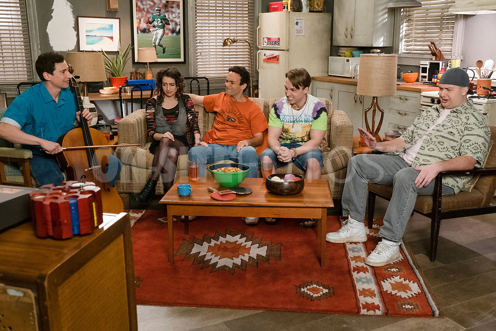 """THE GOLDBERGS - """"The Dating Game"""" – Trying to move on from their breakup, Erica goes on a date with a guy from the coffee shop while Geoff ends up on an episode of """"The Dating Game,"""" which winds up making things even more difficult for them both. Meanwhile, Beverly is thrilled to learn that Murray has spontaneously purchased a shore house until she realizes it's not quite the luxury home she imagined on a new episode of """"The Goldbergs,"""" WEDNESDAY, APRIL 21 (8:00-8:30 p.m. EDT), on ABC. (ABC/Scott Everett White)<br /> SAM LERNER, BETH TRIFFON, TROY GENTILE, SHAYNE TOPP, NOAH MUNCK"""