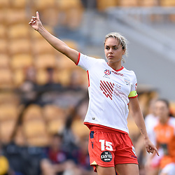 BRISBANE, AUSTRALIA - NOVEMBER 17: Emma Checker of Adelaide gives instructions during the round 4 Westfield W-League match between the Brisbane Roar and Adelaide United at Suncorp Stadium on November 17, 2017 in Brisbane, Australia. (Photo by Patrick Kearney / Brisbane Roar)