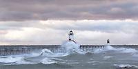 High winds on Halloween send waves crashing over the St. Joseph, Mi lighthouse