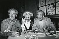 1978 Burgess Meredith, Carol Channing & John Huston dine at the Hollywood Brown Derby Restaurant on Vine St.
