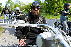 """Jan Johansson on his 26"""" over Harley-Davidson Evo Swedish style chopper on the Twin Club ride out from the club house in Norrtälje after their annual Custom Bike Show. Sweden. Sunday, June 2, 2019. Photography ©2019 Michael Lichter."""