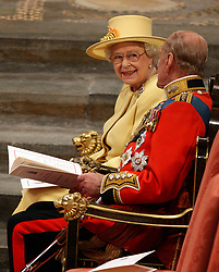 Queen Elizabeth II and Duke of Edinburgh during the wedding of Prince William and Kate Middleton at Westminster Abbey, London.