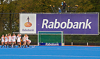 ARNHEM - Reclame van de Rabobank, woensdag bij de hockey-oefeninterland tussen de dames van Nederland en Belgie (3-1)  op het nieuwe blauwe kunstgras van HC Upward in Arnhem. Foto Koen Suyk