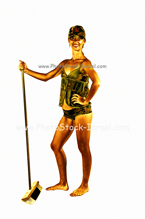 Digitally enhanced image of young woman in sexy military uniform with broom sweeping the floor