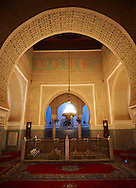 Mauseleum of Moulay Ismaïl Ibn Sharif , reigned 1672–1727. A UNESCO World Heritage Site .Meknes, Meknes-Tafilalet, Morocco. .<br /> <br /> Visit our MOROCCO HISTORIC PLAXES PHOTO COLLECTIONS for more   photos  to download or buy as prints https://funkystock.photoshelter.com/gallery-collection/Morocco-Pictures-Photos-and-Images/C0000ds6t1_cvhPo<br /> .<br /> <br /> Visit our ISLAMIC HISTORICAL PLACES PHOTO COLLECTIONS for more photos to download or buy as wall art prints https://funkystock.photoshelter.com/gallery-collection/Islam-Islamic-Historic-Places-Architecture-Pictures-Images-of/C0000n7SGOHt9XWI