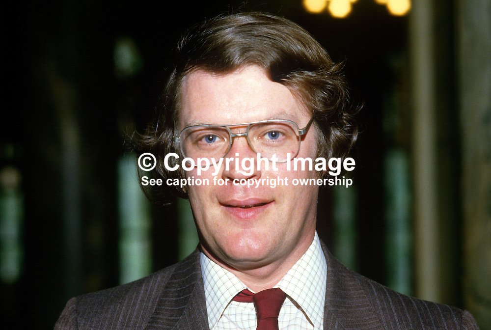 Mervyn Jones, councillor, Alliance Party of N Ireland, UK, 19850512MJ1.<br /> <br /> Copyright Image from Victor Patterson, Belfast, UK<br /> <br /> t: +44 28 9066 1296 (from Rep of Ireland 048 9066 1296)<br /> m: +44 7802 353836<br /> e: victorpattersonbelfast@gmail.com<br /> <br /> www.images4media.com<br /> <br /> Please see my full Terms and Conditions of Use at https://www.images4media.com/p/terms-conditions - it is IMPORTANT that you familiarise yourself with them.<br /> <br /> Images used online incur an additional cost. This cost should be agreed in writing in advance. Online images must be visibly watermarked i.e. © Victor Patterson or that of the named photographer within the body of the image. The original metadata must not be deleted from images used online.<br /> <br /> This image is only available for the use of the download recipient i.e. television station, newspaper, magazine, book publisher, etc, and must not be passed on to a third party. It is also downloaded on condition that each and every usage is notified within 7 days to victorpattersonbelfast@gmail.com.<br /> <br /> The right of Victor Patterson (or the named photographer) to be identified as the author is asserted in accordance with The Copyright Designs And Patents Act (1988). All moral rights are asserted.