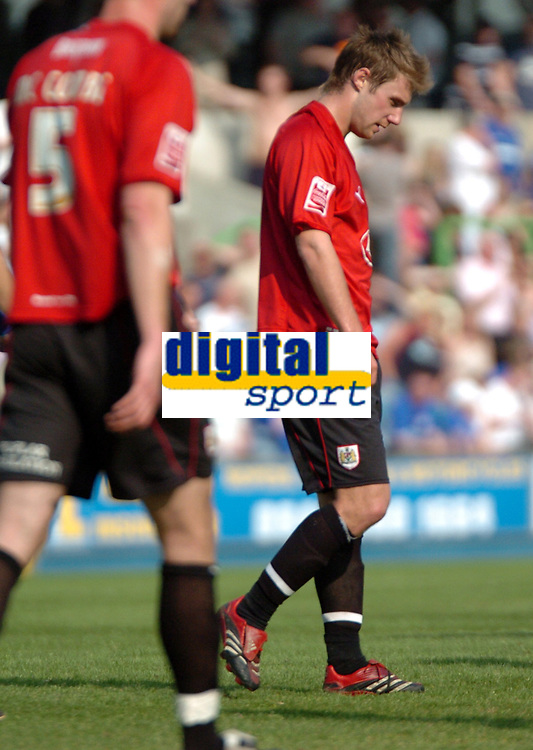 Photo: Tony Oudot.<br /> Millwall v Bristol City. Coca Cola League 1. 28/04/2007.<br /> David Noble of Bristol City is dejected after another chance is missed