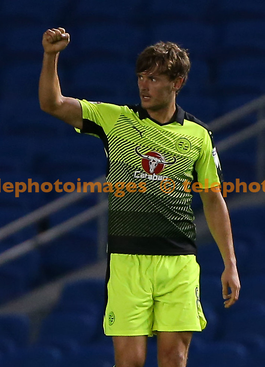 John Swift of Reading celebrates after scoring Readings second goal during the EFL Cup match between Brighton and Hove Albion and Reading at the American Express Community Stadium in Brighton and Hove. September 20, 2016.<br /> James Boardman / Telephoto Images<br /> +44 7967 642437