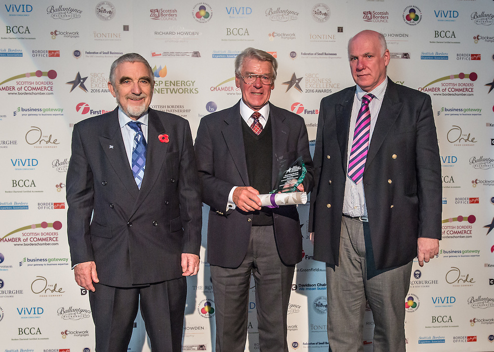 Scottish Borders Business Excellence Awards 2016,  Outstanding Achievement Award.  Awarded by the Scottish Borders Chamber of Commerce. <br /> The 2016 Scottish Border Buisness Excellence Awards, held at Springwood Hall, Kelso. The awards were run by the Scottish Borders Chambers of Commerce, with guest speaker Councillor Stuart Bell, BSC Executive Member for Economic Development.  The SBCC chairman Jack Clark and the presenter Fiona Armstrong co hosted the event.