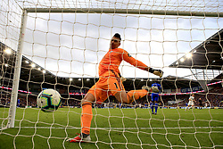 Cardiff City goalkeeper Neil Etheridge kicks the ball in frustration after Burnley's Sam Vokes (not in picture) scores his side's second goal of the game during the Premier League match at the Cardiff City Stadium.