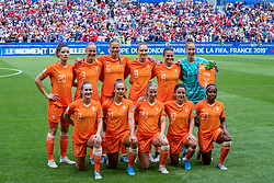 07-07-2019 FRA: Final USA - Netherlands, Lyon<br /> FIFA Women's World Cup France final match between United States of America and Netherlands at Parc Olympique Lyonnais. USA won 2-0 / (L-R) Dominique Bloodworth #20 of the Netherlands, Stefanie van der Gragt #3 of the Netherlands, Anouk Dekker #6 of the Netherlands, Vivianne Miedema #9 of the Netherlands, Sherida Spitse #8 of the Netherlands, Sari van Veenendaal #1 of the Netherlands, Desiree van Lunteren #2 of the Netherlands, Lieke Martens #11 of the Netherlands, Jackie Groenen #14 of the Netherlands, Daniëlle van de Donk #10 of the Netherlands, Lineth Beerensteyn #21 of the Netherlands