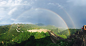 Double Rainbow appears over the Great Wall China