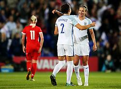 Lucy Bronze of England celebrates after scoring her sides fourth goal  - Mandatory by-line: Matt McNulty/JMP - 19/09/2017 - FOOTBALL - Prenton Park - Birkenhead, United Kingdom - England v Russia - FIFA Women's World Cup Qualifier