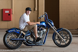 Zach Ness on one of his customs at the 2016 ROT (Republic of Texas Rally). Austin, TX, USA. June 11, 2016.  Photography ©2016 Michael Lichter.