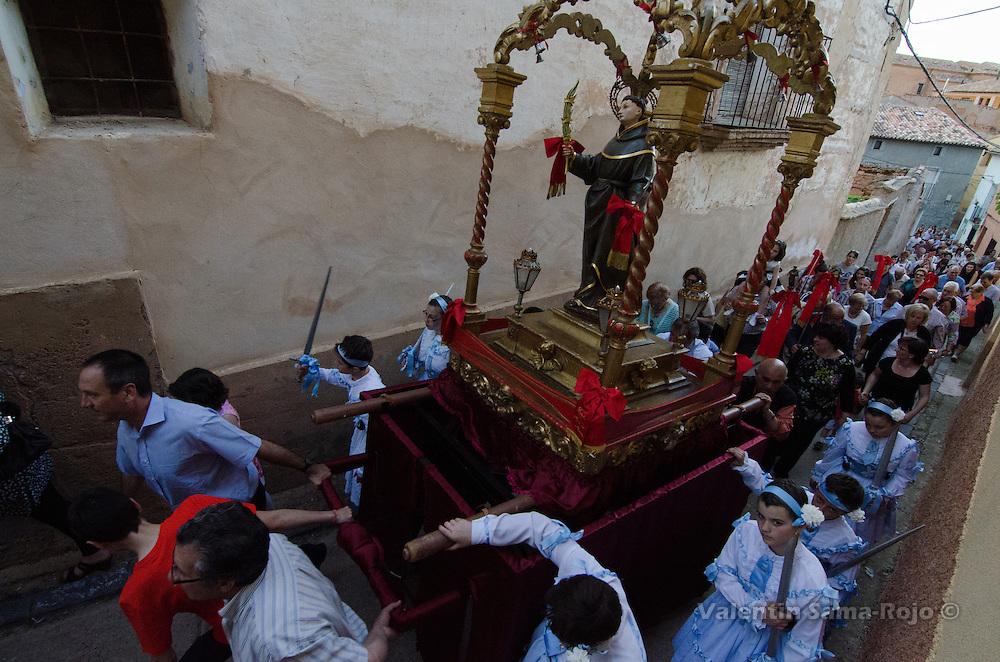 Procession on the Eve of 'San Juan Lorenzo' festivities in Cetina, Zaragoza.