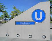 Berlin, GERMANY. General Views,  GV's signs,  Ubahn, entrance to the Bundestag station .  Saturday  01/05/2011 [Mandatory Credit; Peter Spurrier/Intersport-images] Street Photos