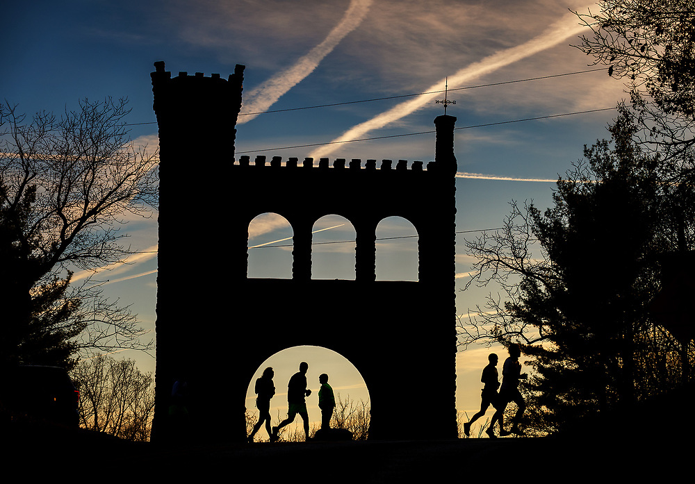 Passing the War Correspondent's Arch at Gathland State Park, mile 9, JFK 50 Mile Ultramarathon.