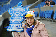 6year Lottie waits fro the FA cup to start at the The FA Cup 3rd round match between Brighton and Hove Albion and Milton Keynes Dons at the American Express Community Stadium, Brighton and Hove, England on 7 January 2017. Photo by Andy Handley.
