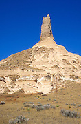 Chimney Rock under blue sky along the Oregon Trail, Chimney Rock National Historic Site, Nebraska USA