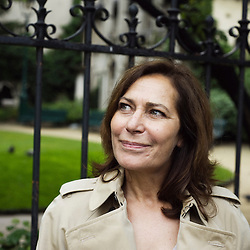 French TV reporter Memona Hintermann, here in Front of the Saint Germain des Pres' church in Paris, France. 27 May 2010. Photo : Antoine Doyen