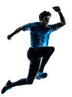 one  man running sprinting jogging shouting in silhouette studio isolated on white background