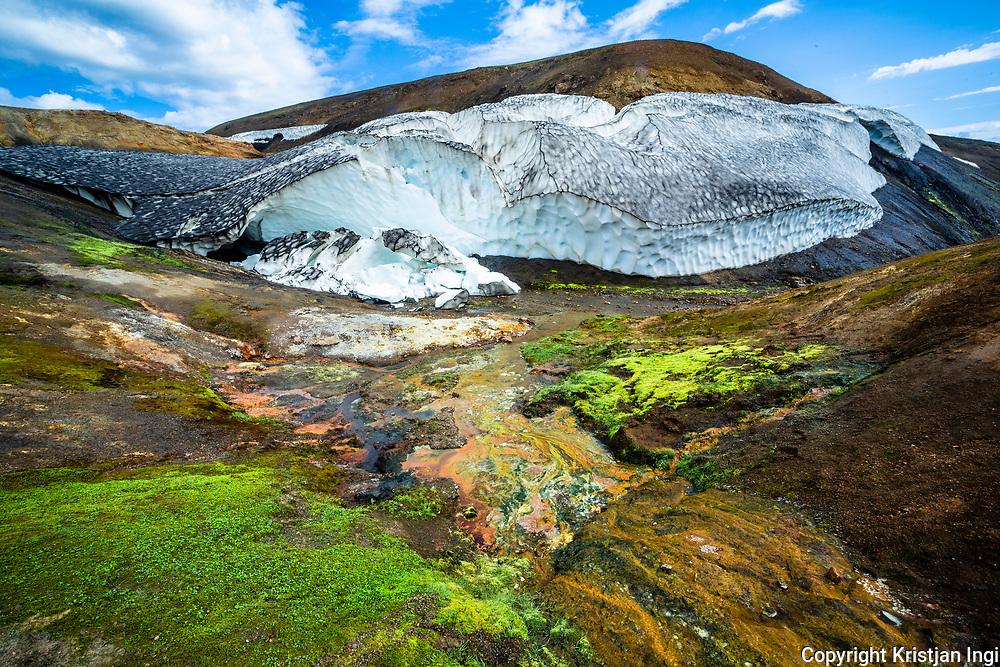 Geothermal areas in Reykjadalir, along the route Fjallabak syðra