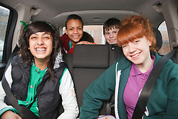 Group of teenagers in car. Cleared for Mental Health Issues.