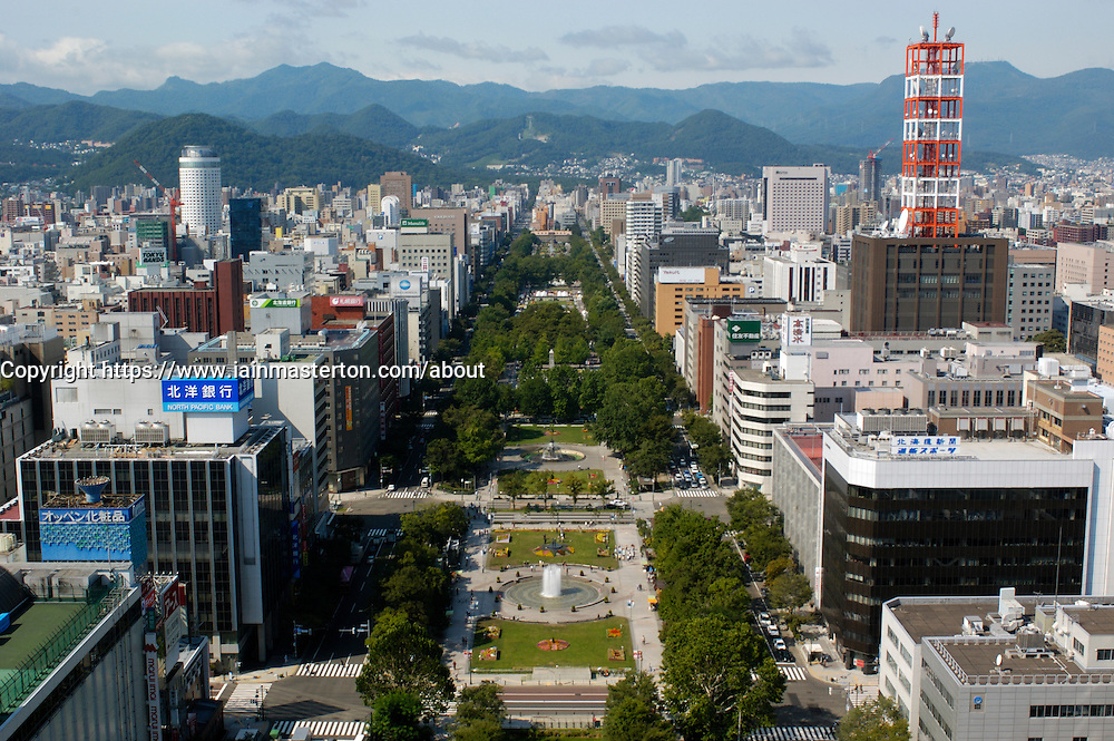 Looking down over Odori Park in central Sapporo japan
