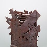 "Title: Iron Pot<br /> Artist: Shea Daniel<br /> Date: 1999<br /> Medium: Ceramic<br /> Instructor: Ishmael Soto<br /> Dimensions: 13.5 x 6 x 14""<br /> Status: On loan<br /> Location: Ceramics Area"