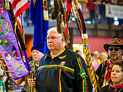 06 MAY 2017 - ST. PAUL, MN: The Honor Guard at the Grand Entry at the 6th Annual Powwow for Hope at Ft. Snelling in St. Paul. The powwow was a fundraiser to support cancer education and supportive services for American Indian communities. Proceeds benefited the American Indian Cancer Foundation's work to eliminate cancer burdens on American Indian families. Cancer is the leading cause of death in Native American communities, exceeding coronary disease and diabetes.       PHOTO BY JACK KURTZ