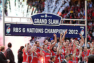 Wales players celebrate winning the six nations championship and grand slam. RBS Six nations championship 2012, Wales v France at the Millennium Stadium in Cardiff, South Wales on Saturday 17th March 2012.  pic by Andrew Orchard, Andrew Orchard sports photography,