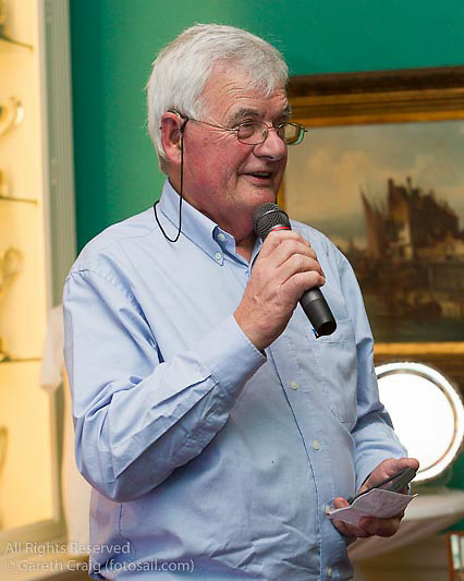 Stuart Musgrave speaking at the reunion night to celebrate 50 years of the Irish Fireball Class, held at the Royal St George YC.