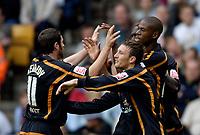 Fotball<br /> England 2005/2006<br /> Foto: SBI/Digitalsport<br /> NORWAY ONLY<br /> <br /> Wolverhampton Wanderers v Aston Villa<br /> Pre Season Friendly.<br /> 30/07/2005.<br /> <br /> Wolves celebrate their second goal, scored by Seyi Olofinjana (R).